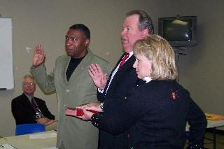 Commissioner J.J. McCree, Commissioner Wade Sealey and Patricia Sealey